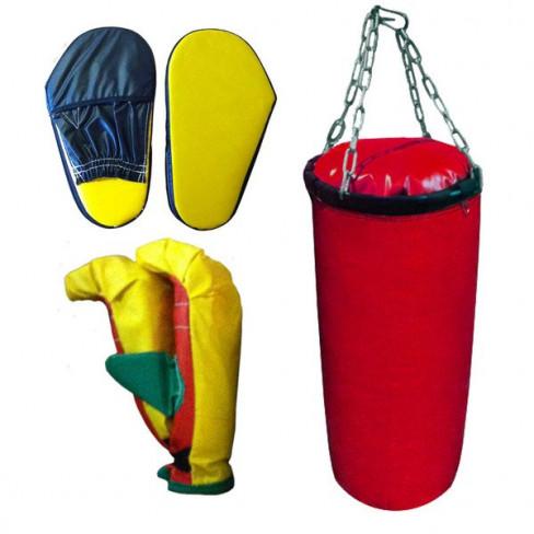 Набор боксерский для детей (5 предметов: груша+2 перчатки+лапы)